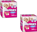 Huggies Infant Girl Nappies (4-8kg) Bulk MULTIBUY - 144x2 nappies