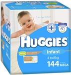 Huggies Infant Boy Nappies (4-8kg) Bulk - 144 nappies
