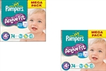 Pampers Nappies Active Fit 4+  9-20kg 72x2