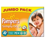 Pampers Nappies Simply Dry 4+  9-20kg  70