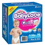 Babylove Cosifit Nappies Toddler (9-14kg) -  Bulk 75 nappies