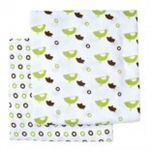 JJ Cole Collections Muslin Cotton Wrap Blanket - Green (2 Pack)