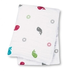 Lulujo Muslin Cotton Wrap - Whales