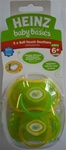 Heinz Baby Basics Soft Touch Orthodontic x 2 Pacifiers 6m+ Lime Green/Yellow