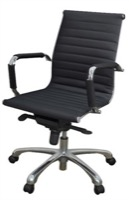 Regency Office Chair - Eames Style - Chrome & Black Leather - Solace