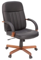 Regency Office Chair - Ethos Black Leather - Wood Arms & Base