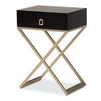 Designer Studios Patricia Modern and Contemporary Black Finished Wood and Brass-Tone Metal 1-Drawer Nightstand