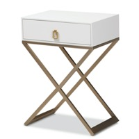 Designer Studios Patricia Modern and Contemporary White Finished Wood and Brass-Tone Metal 1-Drawer Nightstand