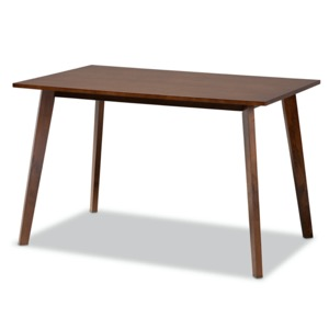 Designer Studios Britte Mid-Century Modern Transitional Walnut Brown Finished Rectangular Wood Dining Table