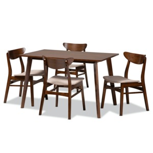 Designer Studios Orion Mid-Century Modern Transitional Light Beige Fabric Upholstered and Walnut Brown Finished Wood 5-Piece Dining Set