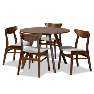 Designer Studios Philip Mid-Century Modern Transitional Light Grey Fabric Upholstered and Walnut Brown Finished Wood 5-Piece Dining Set