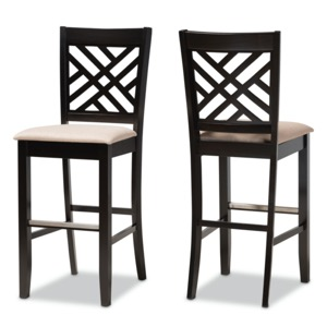 Designer Studios Jason Modern and Contemporary Sand Fabric Upholstered and Espresso Brown Finished Wood 2-Piece Bar Stool Set