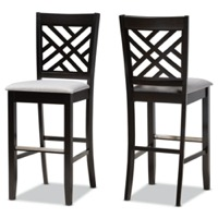 Designer Studios Jason Modern and Contemporary Grey Fabric Upholstered and Espresso Brown Finished Wood 2-Piece Bar Stool Set