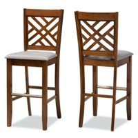 Designer Studios Jason Modern and Contemporary Grey Fabric Upholstered and Walnut Brown Finished Wood 2-Piece Bar Stool Set