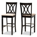 Designer Studios Calista Modern and Contemporary Sand Fabric Upholstered and Espresso Brown Finished Wood 2-Piece Bar Stool Set