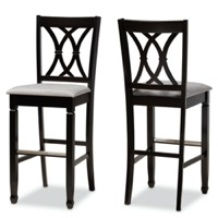 Designer Studios Calista Modern and Contemporary Grey Fabric Upholstered and Espresso Brown Finished Wood 2-Piece Bar Stool Set