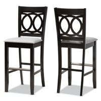 Designer Studios Carson Modern and Contemporary Grey Fabric Upholstered and Espresso Brown Finished Wood 2-Piece Bar Stool Set