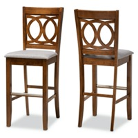 Designer Studios Carson Modern and Contemporary Grey Fabric Upholstered and Walnut Brown Finished Wood 2-Piece Bar Stool Set