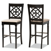 Designer Studios Alexandra Modern and Contemporary Sand Fabric Upholstered and Espresso Brown Finished Wood 2-Piece Bar Stool Set