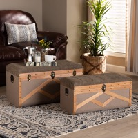 Designer Studios Kala Modern and Contemporary Transitional Brown Fabric Upholstered and Walnut Finished Wood 2-Piece Storage Ottoman Trunk Set