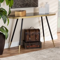 Designer Studios Lauro Modern and Contemporary Black Faux Marble and Two-Tone Gold and Black Metal Console Table