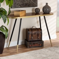 Designer Studios Lauro Modern and Contemporary Walnut Wood Finished and Two-Tone Gold and Black Metal Console Table
