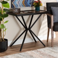 Designer Studios Carlo Modern and Contemporary Walnut Finished Wood and Black Finished Metal Console Table