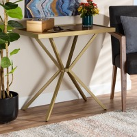 Designer Studios Carlo Modern and Contemporary Walnut Finished Wood and Gold Finished Metal Console Table