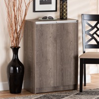 Designer Studios Langston Modern and Contemporary Weathered Oak Finished Wood 2-Door Shoe Cabinet