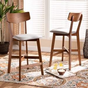 Designer Studios Cameron Modern and Contemporary Transitional Grey Fabric Upholstered and Walnut Brown Finished Wood 2-Piece Counter Stool Set