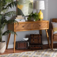 Designer Studios Mae Mid-Century Modern Natural Brown Finished Wood 2-Drawer Console Table