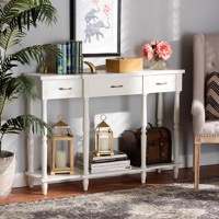 Designer Studios Hallan Classic and Traditional French Provincial White Finished Wood 3-Drawer Console Table