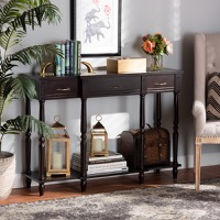 Designer Studios Hallan Classic and Traditional French Provincial Dark Brown Finished Wood 3-Drawer Console Table