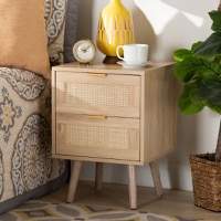 Designer Studios Baird Mid-Century Modern Light Oak Brown Finished Wood and Rattan 2-Drawer Nightstand