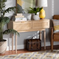 Designer Studios Baird Mid-Century Modern Light Oak Brown Finished Wood and Rattan 2-Drawer Console Table