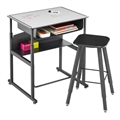 "AlphaBetter Adjustable-Height Stand-Up Desk, 28 x 20"" Premium Top, Book Box and Swinging Footrest Bar"