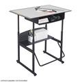 "AlphaBetter Adjustable-Height Stand-Up Desk, 36 x 24"" Premium Top, Book Box and Swinging Footrest Bar, Gray"