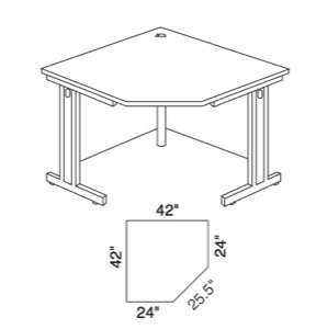"Communication Station Corner Unit for 24""D Workstations, 42""W x 24""D x 29 1/2""H"