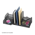 Onyx Desk Organizer - Three Upright Sections, Two Baskets, Black