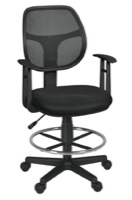 Regency Office Chair - Carter Swivel Stool with Arms - Black