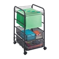 Onyx Mesh Open File with Drawers, Black