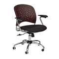 Reve Task Chair Round Plastic Wood Back, Mahogany
