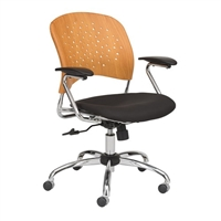 Reve Task Chair Round Plastic Wood Back, Natural