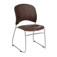 Reve Guest Chair Round Plastic Wood Back (Qty. 2), Mahogany