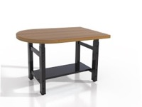 "Mayline Techworks Tables - 48""W 30""D Adjustable Table with 1 3/4"" butcher block surface - Peninsula"