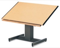 "Futur-Matic, Drawing Table, 48""W x 37-1/2""D x 30 to 48""H, with Hardwood Pencil Trough"