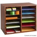 Wood Adjustable Literature Organizer - 12 Compartment, Cherry