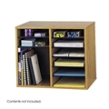 Wood Adjustable Literature Organizer - 12 Compartment, Medium Oak