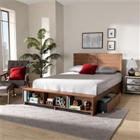 Designer Studios Alba Modern Transitional Ash Walnut Brown Finished Wood Full Size 4-Drawer Platform Storage Bed with Built-In Shelves