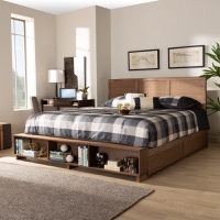 Designer Studios Alba Modern Transitional Ash Walnut Brown Finished Wood King Size 4-Drawer Platform Storage Bed with Built-In Shelves